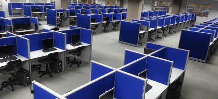 Work stations at Kinettix's newly upgraded Service Operations Center in Cebu City.